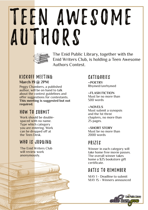 teen awesome authors contest