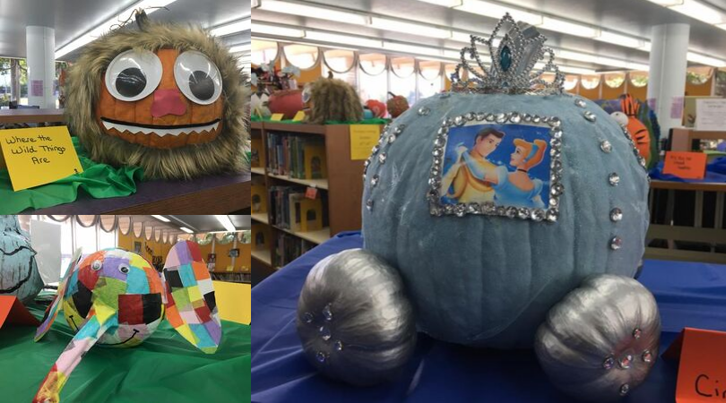 pumpkins as cinderella, where the wild things are and an elephant