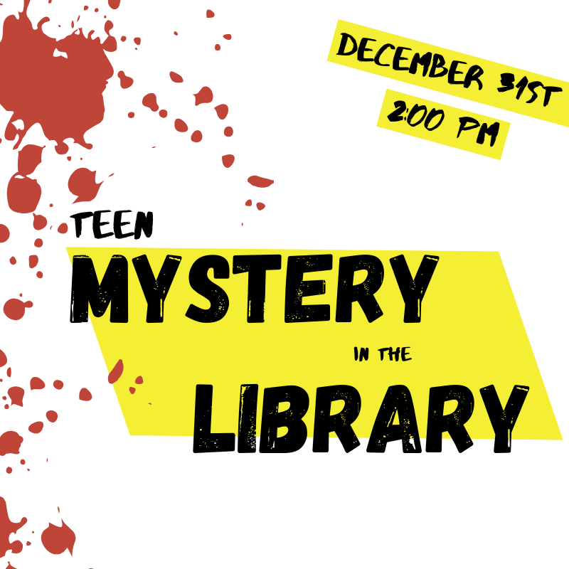 teen mystery in the library blood splatter flyer