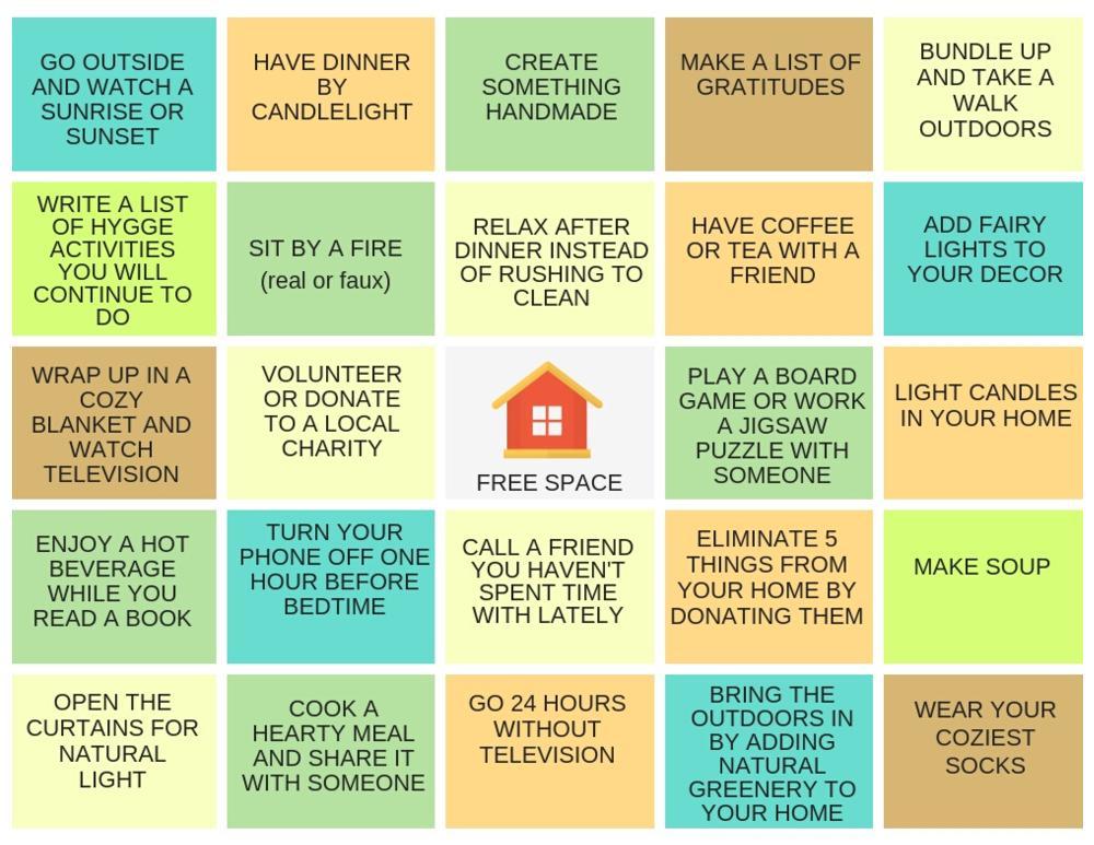 bingo challenge sheet
