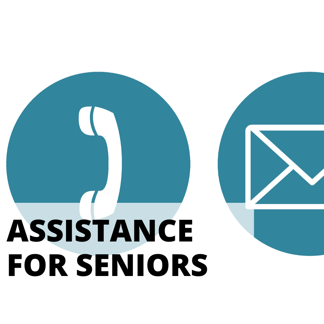 assistance for seniors with background of phone and email icons