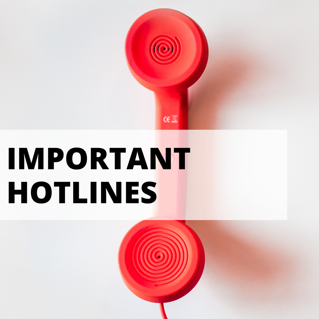 important hotlines with background of red phone