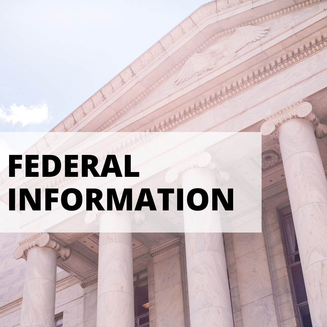 federal information with white concrete building background
