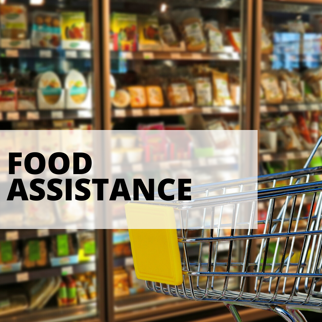 food assistance with a cart and food background