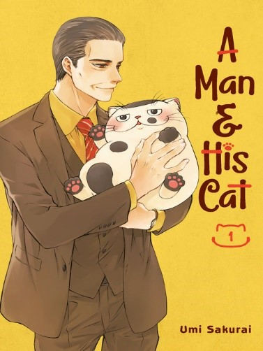 yellow cover, man holding his spotted cat