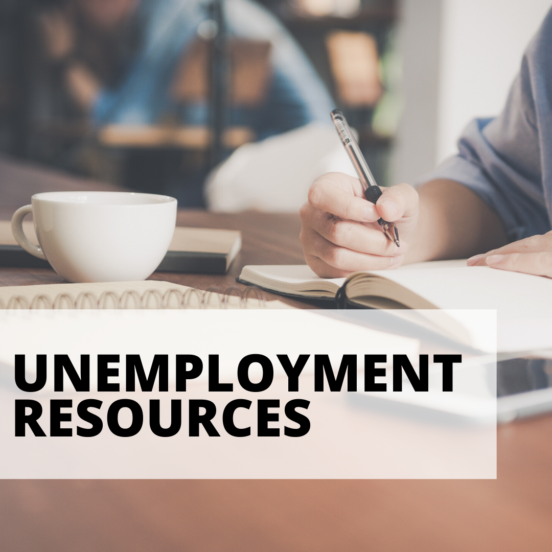 unemployment resources with woman writing in notebook background