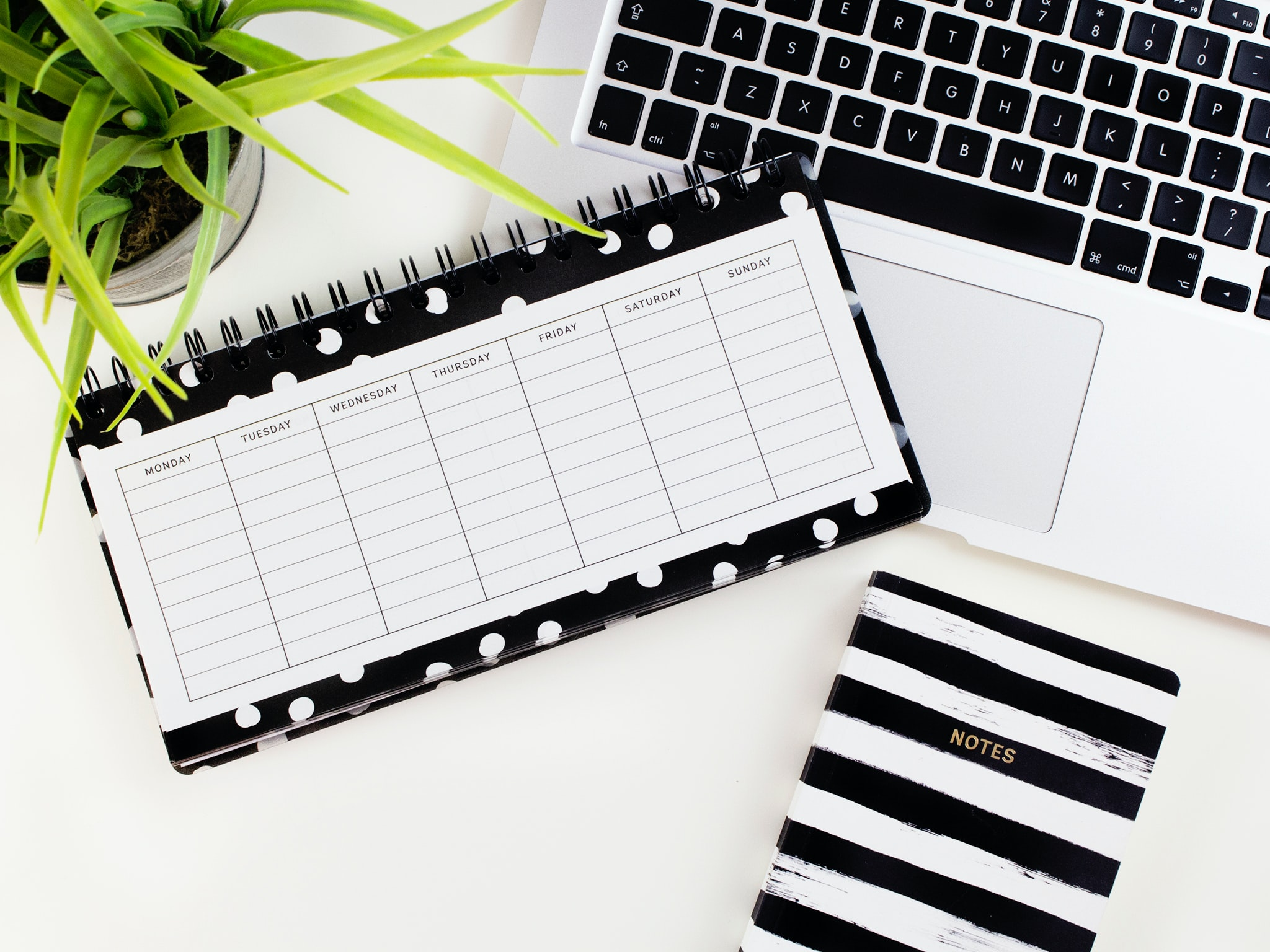 desk calendar and computer