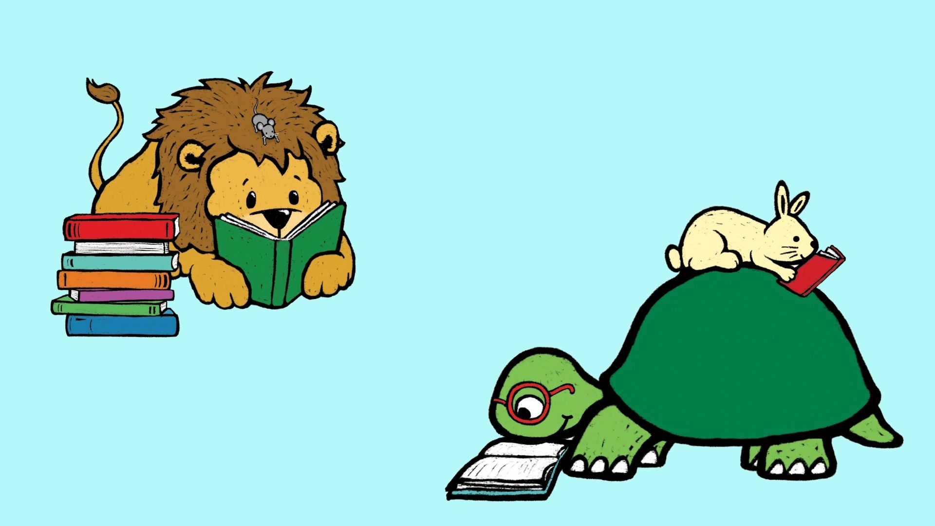 turtle, lion, and rabbit reading