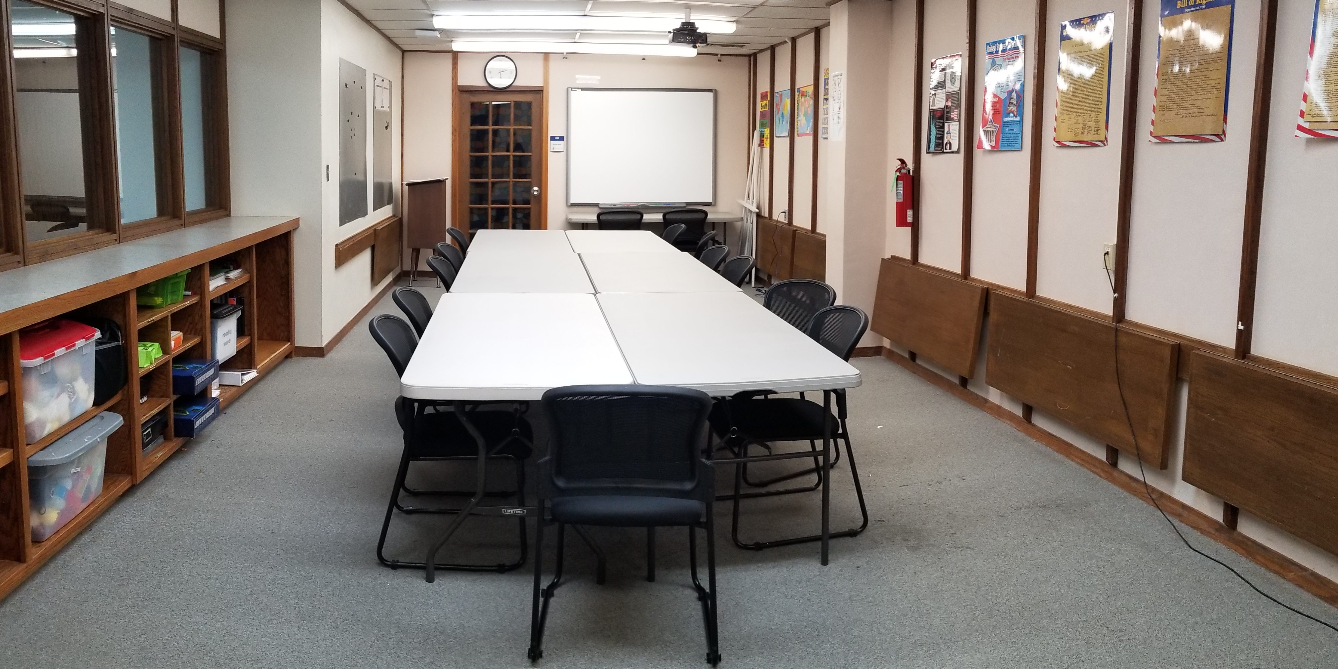 room with tables and chairs